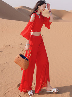 Red Cold Shoulder High Waisted Wide Leg Pant Suits