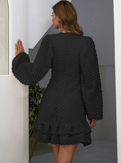 Solid Lantern Sleeve Ruffle Mini Short Dress