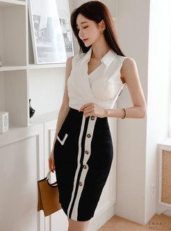 Sleeveless V-neck Blouse Color Block Sheath Skirt Suits