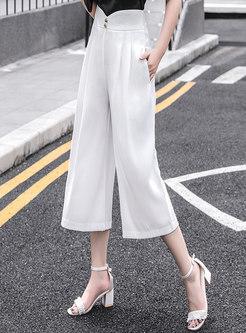 Button Embellished Back Zipper Calf-length Wide Leg Pants