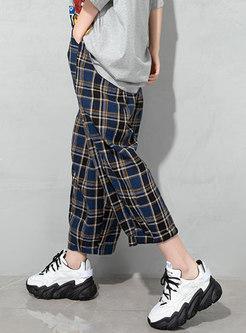 Chic Plaid Belted Linen Wide Leg Pants