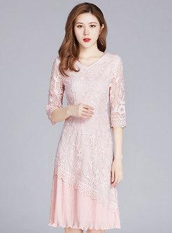 Retro Embroidered Half Sleeve Patchwork Mesh Dress