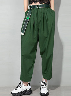 Plus Size Casual High Waisted Straight Pants