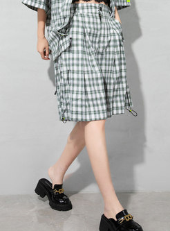 Chic High Waisted Loose Plaid Shorts