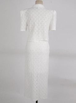 Turn-down Collar Lace Shirt Split Sheath Skirt Suits