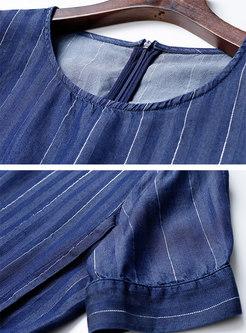Blue Crew Neck Striped Asymmetric Wide Leg Pant Suits