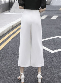 Brief Casual High Waisted White Palazzo Pants