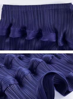 High Waisted A Line Pleated Midi Skirt