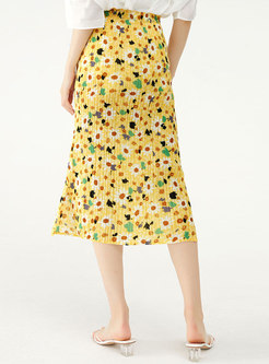 Summer Yellow Floral Sheath Pleated Skirt