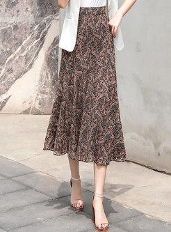 Retro Floral Chiffon A Line Skirt