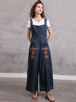 Square Neck High Waisted Embroidered Denim Overalls