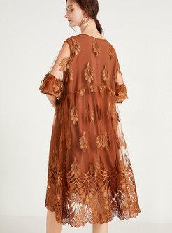 Elegant Half Sleeve Embroidered Shift Dress