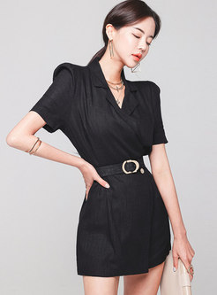 Black Notched Puff Sleeve Belted Straight Rompers