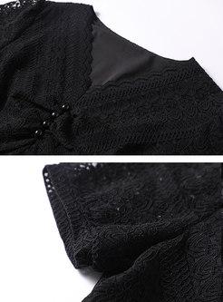 Black Lace Openwork A Line Plus Size Dress