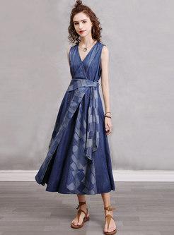V-neck Sleeveless Plaid Patchwork Denim Maxi Dress