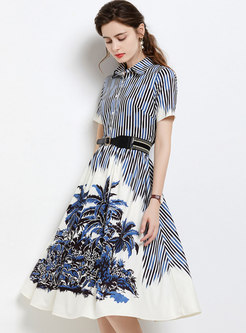 Turn-down Collar Striped Print A Line Shirt Dress