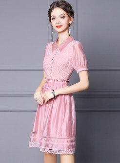 Pink Turn-down Collar Puff Sleeve Skater Dress
