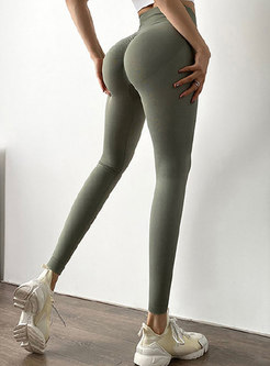 Solid High Waisted Scrunch Leggings