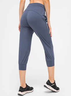Solid Drawcord Calf-length Joggers