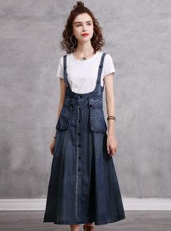 Single-breasted Pocket Denim Maxi Skirt