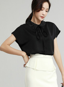 Sequin Turn-down Collar Raglan Sleeve Blouse