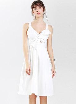 White Sexy V-neck Bowknot Openwork A Line Slip Dress