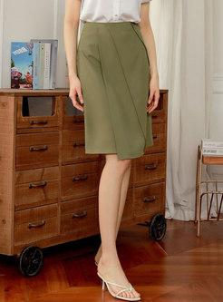 Brief High Waisted Straight Knee-length Skirt