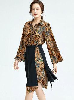 Turn-down Collar Print Chiffon Shirt Dress With Skirt