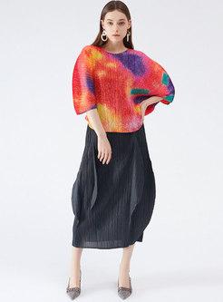 Black Ruffle Pleated Bud Skirt