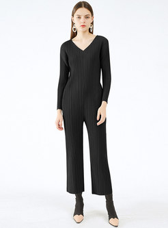 Solid V-neck Long Sleeve Pleated Jumpsuits