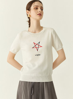 Casual Crew Neck Pullover Embroidered Knit Top
