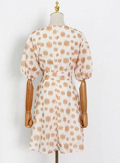 V-neck Puff Sleeve Polka Dot Skater Dress