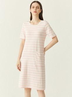 Casual Striped Crew Neck Pocket T-shirt Dress