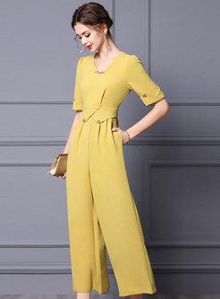 Yellow V-Neck Half Sleeve Wide Leg Jumpsuits
