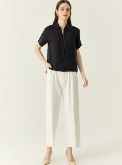Turn-down Collar Pullover Loose Split Blouse