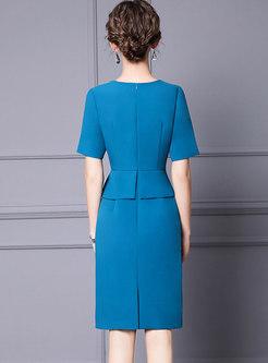 Short Sleeve Beaded Patchwork Bodycon Dress