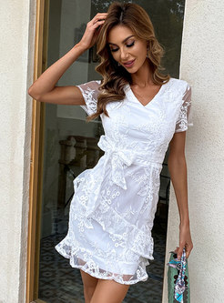 V-neck Embroidered Bowknot Sheath Lace Dress