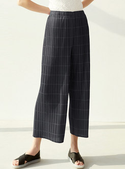 Casual High Waisted Pleated Wide Leg Pants