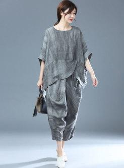 Plus Size Batwing Sleeve Striped Linen Pant Suits