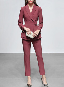 Lapel Long Sleeve Slim High Waisted Pant Suits