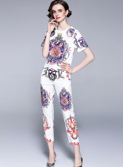 Casual Print Pullover High Waisted Pant Suits