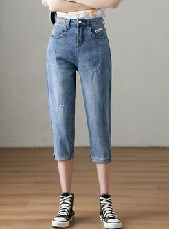 High Waisted Stretchy Calf-length Jeans
