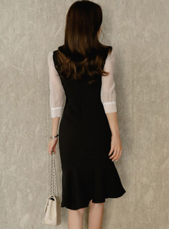 Bowknot Mock Neck Patchwork Bodycon Peplum Dress