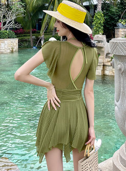 Scoop Neck Backless High Waisted One Piece Swimwear