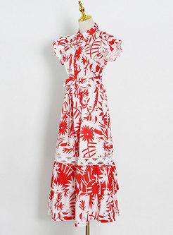 Ruffle Sleeve Print Openwork Big Hem Maxi Dress