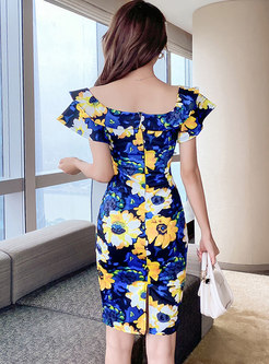 Sexy Off-the-shoulder Print Bodycon Dress