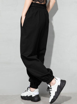 Casual High Waisted Drawstring Ripped Joggers