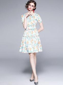 Off-the-shoulder Print High Waisted Skater Dress