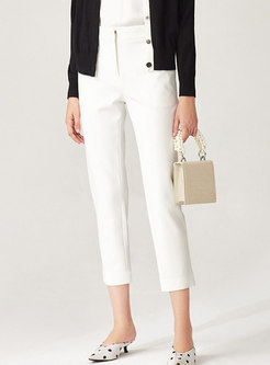 Brief White High Waisted Skinny Pants