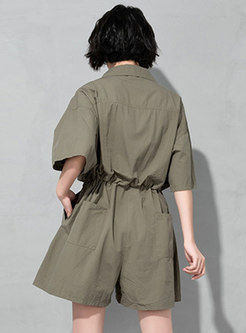 Solid Turn-down Collar Drawcord Rompers